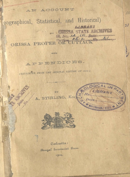 An Account Geographycal Statisticas And Historical Of Orissa